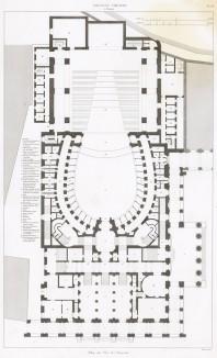 """Главный театр Генуи """"Карло Феличе"""" архитектора Карло Барабино, открывшийся 7 апреля 1828 года премьерой оперы Беллини. План. Les plus beaux édifices de la ville de Gênes et de ses environs, л.66. Париж, 1845"""