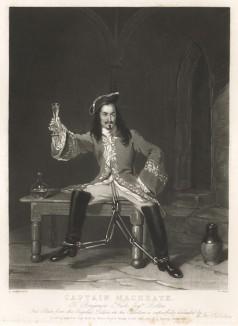 """Персонаж пьесы Джона Гея """"Опера нищего"""" капитан Макхит в тюрьме. Меццо-тинто Уильяма Уорда с оригинала Генри Ливерсиджа, Лондон,1832 год"""