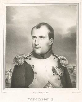 Конный портрет императора Франции Наполеона I Бонапарта (1769-1821). Редкая немецкая литография 30-х гг. XIX века, выполненная в берлинской литографии L.Sachse & Co. Verlag von Gebr. Gropius in Berlin