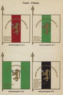 Знамёна 6-го, 7-го, 8-го и 9-го полков норвежской пехоты (лист 15 работы Den Norske haer. Organisasjon bevaebning, og uniformsbeskrivelse, изданной в Лейпциге в 1932 году)