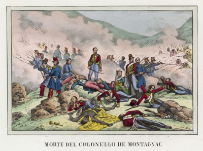 Гибель полковника Люсьена де Монтаньяка в битве с арабскими повстанцами при Сиди-Брахим 25 сентября 1845 года (иллюстрация к L'Africa francese... - хронике французских колониальных захватов в Северной Африке, изданной во Флоренции в 1846 году)