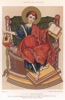 Евангелист Лука – первый иконописец, святой покровитель врачей и живописцев. С миниатюры из Евангелия, хранившегося в аббатстве Сен-Медар (из Les arts somptuaires... Париж. 1858 год)