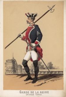 Гвардеец испанского короля в парадной форме образца 1860 года (из альбома литографий L'Espagne militaire, изданного в Париже в 1860 году)
