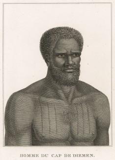 Житель острова Тасмания. Atlas pour servir à la relation du voyage à la recherche de La Pérouse, л.8. Париж, 1800