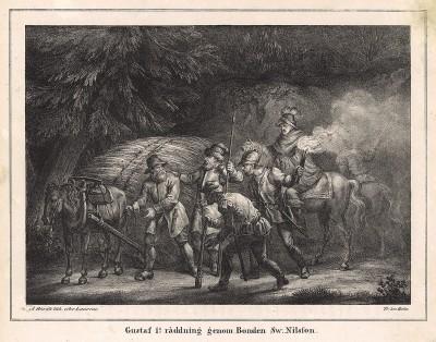 Спасение будущего короля Густава I (1496—1560, король Швеции с 6.06.1523) Свеном Нильсфоном во время бегства из Дании, где будущий король был заложником. Stockholm forr och NU. Стокгольм, 1837