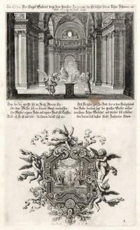1. Явление ангела Захарии 2. Крещение Иисуса Христа в Иордане (из Biblisches Engel- und Kunstwerk -- шедевра германского барокко. Гравировал неподражаемый Иоганн Ульрих Краусс в Аугсбурге в 1694 году)
