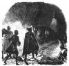 Семилетняя война 1756-1763 гг. Фридрих Великий (на фоне костра) в ночь перед битвой при Лигнице 7 августа 1760 г. Маркграф Карл Баденский держит под уздцы лошадь короля. Geschichte Friedrichs des Grossen von F. Kugler. Лейпциг, 1842, с.447