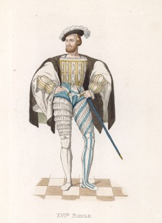 """Клод Лотарингский, герцог де Гиз (1496--1550) -- полководец эпохи короля Франциска I (лист 28 работы Жоржа Дюплесси """"Исторический костюм XVI -- XVIII веков"""", роскошно изданной в Париже в 1867 году)"""