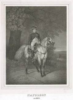 Наполеон I Бонапарт (1769-1821) в 1815 г. Редкая немецкая литография 30-х гг. XIX века