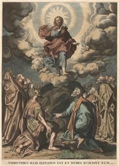 """Вознесение Господне. """"Сказав сие, Он поднялся в глазах их, и облако взяло Его из вида их."""" Деян. 1:9 Viden tibus illis elevatus est et nubes suscepit eum. Гравюра Корнелиса Блумарта по оригиналу Чиро Ферри."""