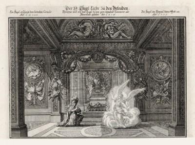 Благочестивый Корнилий видит ангела (из Biblisches Engel- und Kunstwerk -- шедевра германского барокко. Гравировал неподражаемый Иоганн Ульрих Краусс в Аугсбурге в 1694 году)