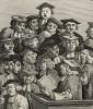 Лекция, 1736. Сатирическое изображение университетской лекции по философии. Лица слушателей выражают подчеркнутую тупость. Среди них можно узнать архивариуса Оксфордского университета Вильяма Фишера (профиль с римским носом и выпуклым лбом). Лондон, 1838
