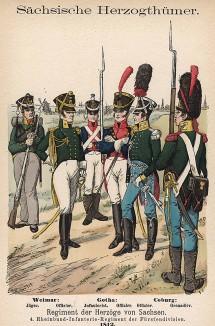 Униформа полков саксонской пехоты, сформированных в городах Веймар и Кобург образца 1812 г. Uniformenkunde Рихарда Кнотеля, часть 2, л.26. Ратенау (Германия), 1891