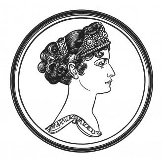 """Каролина Бонапарт (1782—1839) — младшая и любимая сестра Наполеона I, супруга маршала Мюрата, королева Неаполитанская (1808). После смерти мужа стала графиней Липоны и закончила дни в Австрии. Илл. к пьесе С.Гитри """"Наполеон"""", Париж, 1955"""