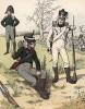 Униформа пехотинцев полков, сформированных в различных областях Саксонии в 1812 г. Uniformenkunde Рихарда Кнотеля, часть 2, л.27. Ратенау (Германия), 1891