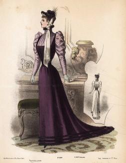 Строгое платье с шлейфом и воротником-стойкой. Из французского модного журнала Le Coquet, выпуск 294, 1892 год
