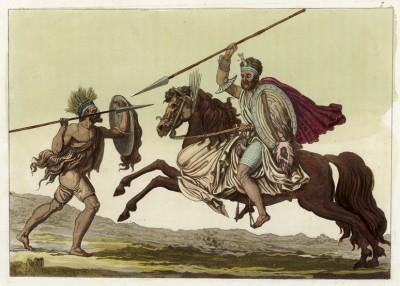 Абиссинские воины (из работы Джулио Феррарио Il costume antico e moderno, o, storia... di tutti i popoli antichi e moderni (Африка. Том II. Милан. 1819 год))