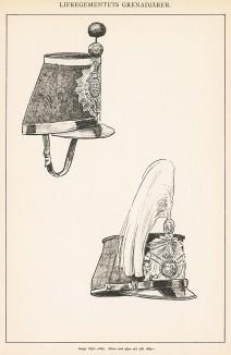 Головные уборы (кепи) шведской пехоты конца XIX века. Svenska arméns munderingar 1680-1905. Стокгольм, 1911