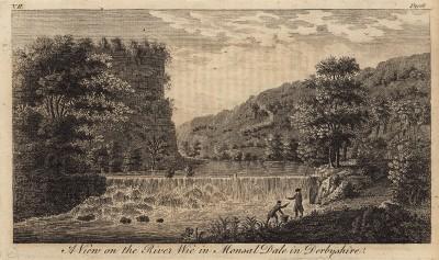 Пороги на реке Уай в Монсал-Дейл (графстве Дербишир) (из A New Display Of The Beauties Of England... Лондон. 1776 г. Том 2. Лист 106)
