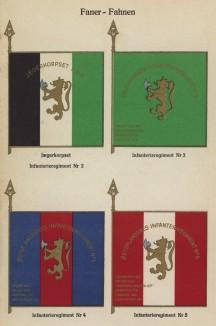 Знамёна 2-го, 3-го, 4-го и 5-го егерских полков норвежской пехоты (лист 14 работы Den Norske haer. Organisasjon bevaebning, og uniformsbeskrivelse, изданной в Лейпциге в 1932 году)