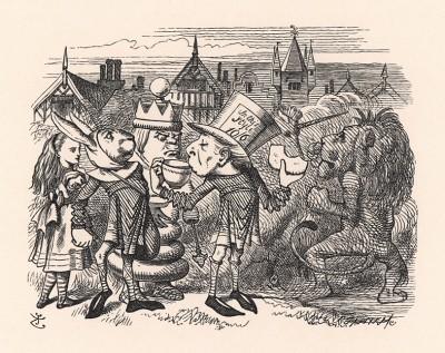 Перерыв -- десять минут! -- закричал Король. -- Всем подкрепиться! (иллюстрация Джона Тенниела к книге Льюиса Кэрролла «Алиса в Зазеркалье», выпущенной в Лондоне в 1870 году)