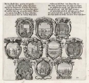 Десять сцен из Евангелия от Матфея (из Biblisches Engel- und Kunstwerk -- шедевра германского барокко. Гравировал неподражаемый Иоганн Ульрих Краусс в Аугсбурге в 1700 году)