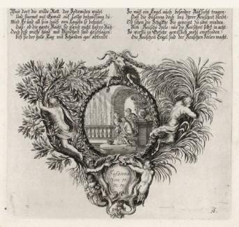 Сусанна и старцы (из Biblisches Engel- und Kunstwerk -- шедевра германского барокко. Гравировал неподражаемый Иоганн Ульрих Краусс в Аугсбурге в 1694 году)