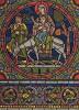Дева Мария с младенцем Иисусом и Иосифом возвращаются в Назарет. Элемент витража Шартрского собора (из Les arts somptuaires... Париж. 1858 год)