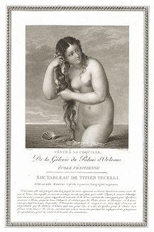 Венера Анадиомеда кисти Тициана. Лист из знаменитого издания Galérie du Palais Royal..., Париж, 1808