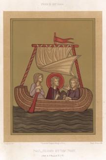 Апостол Павел и его ученики -- апостолы от семидесяти -- Силуан и Тимофей (из Les arts somptuaires... Париж. 1858 год)
