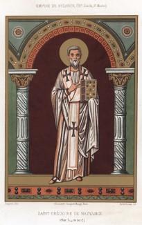 Святой Григорий Богослов, или Григорий Назианзин (329–389), -- один из отцов церкви, входит в число Великих каппадокийцев (из Les arts somptuaires... Париж. 1858 год)