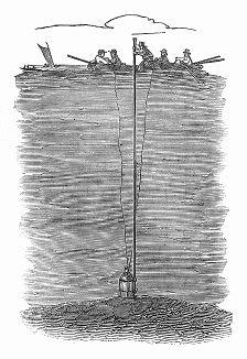Установка канистры с порохом на дне реки Темзы для взрыва в ходе дноуглубительных работ, проводимых с целью устранения наноса, препятствующего эксплуатации судоходного водного пути (The Illustrated London News №297 от 08/01/1848 г.)