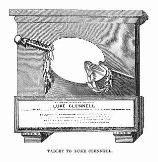 Памятная табличка Люка Кленнелла (1781 -- 1840 гг.) -- выдающегося английского гравёра и живописца (The Illustrated London News №107 от 18/05/1844 г.)