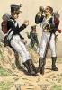 1810-12 гг. Пехотинцы голландского полка воспитанников императора (слева) и ирландского легиона Великой армии Наполеона. Коллекция Роберта фон Арнольди. Германия, 1911-29