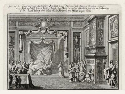 Дом Исаака и Ревекки (из Biblisches Engel- und Kunstwerk -- шедевра германского барокко. Гравировал неподражаемый Иоганн Ульрих Краусс в Аугсбурге в 1700 году)