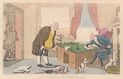 """Доктор Синтакс и книготорговец. Иллюстрация Томаса Роуландсона к поэме Вильяма Комби """"Путешествие доктора Синтакса в поисках живописного"""", л.25. Лондон, 1881"""