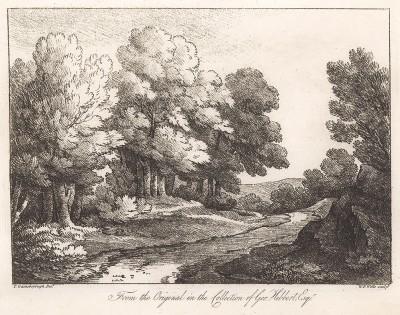 Пейзаж с деревьями вдоль реки. Гравюра с рисунка знаменитого английского пейзажиста Томаса Гейнсборо из коллекции Дж. Хибберта. A Collection of Prints ...of Tho. Gainsborough, Лондон, 1819.