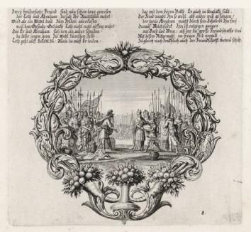 Война с содомским правителем (из Biblisches Engel- und Kunstwerk -- шедевра германского барокко. Гравировал неподражаемый Иоганн Ульрих Краусс в Аугсбурге в 1700 году)