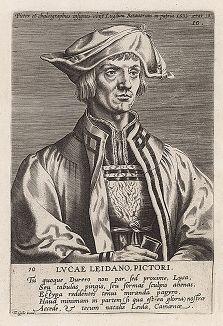 Лукас ван Лейден (1494 -- 1533 гг.) -- нидерландский живописец и гравер, представитель нидерландского Возрождения. Гравюра Яна Вирикса по рисунку Альбрехта Дюрера.