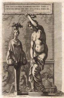 """Венера Анадиомена и герма. Фронтиспис к книге о скульптуре из """"Немецкой академии""""."""