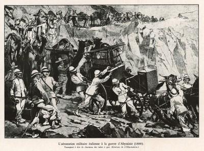 1888 г. Строительство итальянской авиастанции во время войны в Абиссинии. Рисунок из французского журнала L'Illustration. L'аéronautique d'aujourd'hui. Париж, 1938