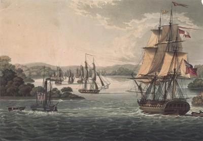 Английский военный фрегат и корабли Британской Ост-Индской компании