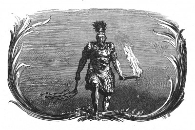 Бог войны Марс снова у прусских границ, возвещает начало Семилетней войны 1756-1763 годов. Илл. Адольфа Менцеля. Geschichte Friedrichs des Grossen von Franz Kugler. Лейпциг, 1842, с.285