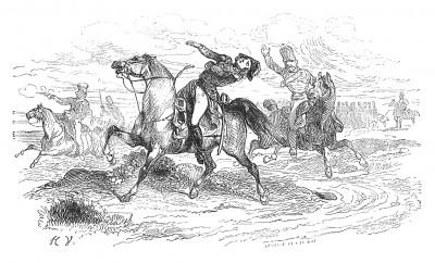 Накануне сражения при Лютцене 2 мая 1813 г. в бою у ручья Риппах (между Вейсенфельсом и Лютценом) выстрелом в грудь убит командующий конной гвардией Наполеона, маршал Франции Бессьер (1768-1813). Histoire de l'empereur Napoléon, Париж, 1840