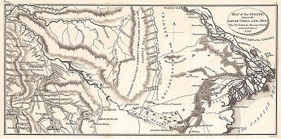 Карта течения нижней Волги. Travels through the Southern provinces of the Russian empire in the years 1793 and 1794. Volume II. Лондон, 1803 год.