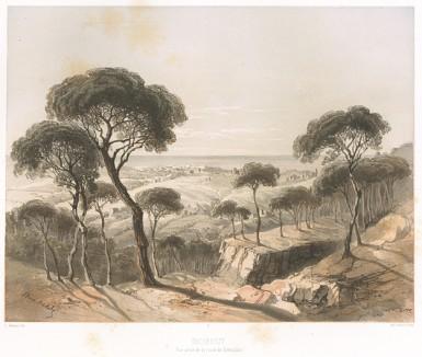 Бейрут (Le Pays d'Israel collection de cent vues prises d'après nature dans la Syrie et la Palestine par C. W. M. van de Velde. Париж. 1857 год. Лист 1)