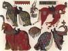 Модная во Франции XIV--XVI вв. конская упряжь: попоны, оголовья, уздечки, сёдла и намордники (из Les arts somptuaires... Париж. 1858 год)