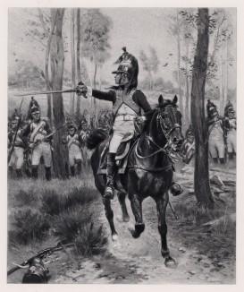 """Атака французских драгун в пешем строю (1806 год) (иллюстрация к известной работе """"Кавалерия Наполеона"""", изданной в Париже в 1895 году)"""