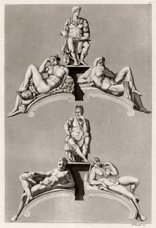 Статуи Микеланджело (из знаменитой работы Джулио Феррарио Il costume antico e moderno, o, storia... di tutti i popoli antichi e moderni, изданной в Милане в 1822 году (Европа. Том III))