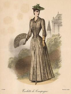Приталенное платье приглушённых тонов для прогулок на природе. Из французского модного журнала Le Coquet, выпуск 255, 1889 год